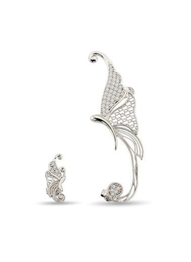 Argentum Concept Zirkon Taşlı Gümüş Kelebek Küpe Renkli